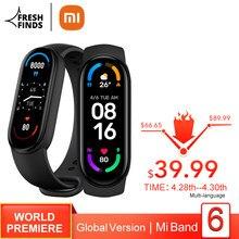 Xiaomi – Bracelet connecté Mi Band 6, avec écran AMOLED de 1.56 pouces, capteur d'activité physique avec suivi de la fréquence cardiaque et du taux d'oxygène dans le sang, Bluetooth, étanche