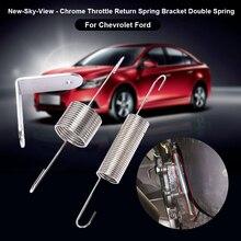 Хромированный пружинный кронштейн для дроссельной заслонки, металлические двойные пружины, Аксессуары для автомобилей и мотоциклов, инструменты для Chevy для Ford