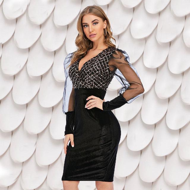 Spring and Autumn New Women's Casual dress Deep V-neck Mesh Stitching Long sleeve Slim Elegant Sequin dress 3170 1