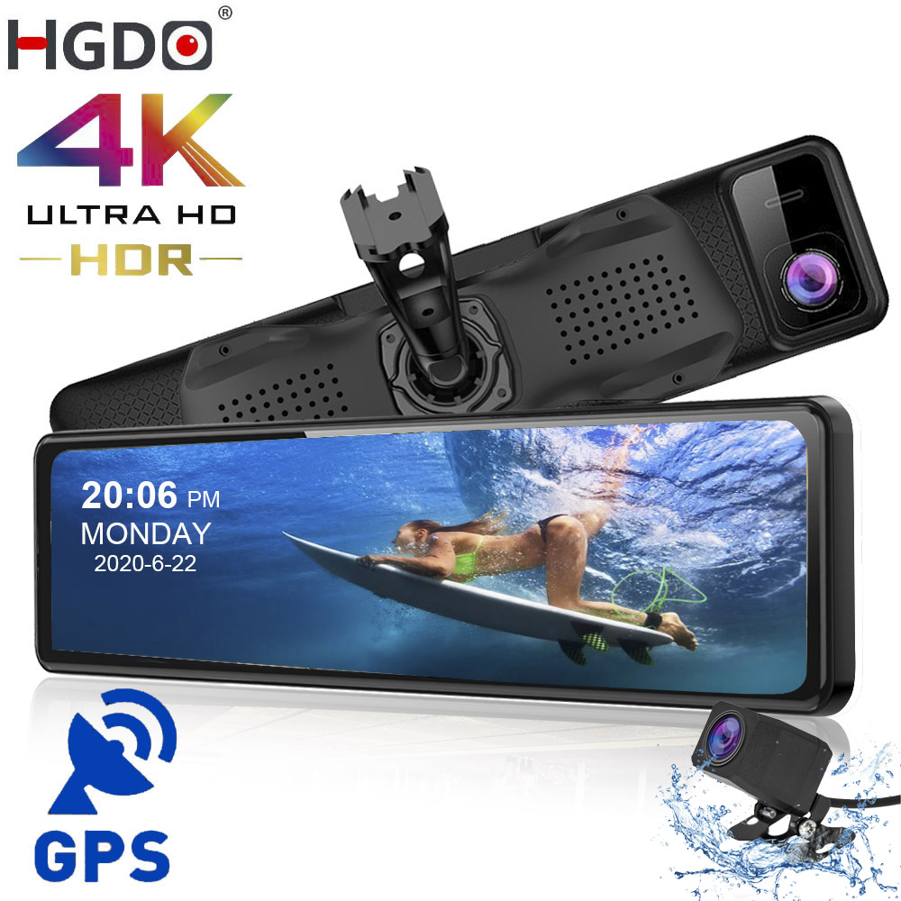 Автомобильный видеорегистратор HGDO 4K, 12 дюймов, GPS, Sony IMX415 камера в зеркале заднего вида 1080P, камера заднего вида, автомобильная камера, видеор...