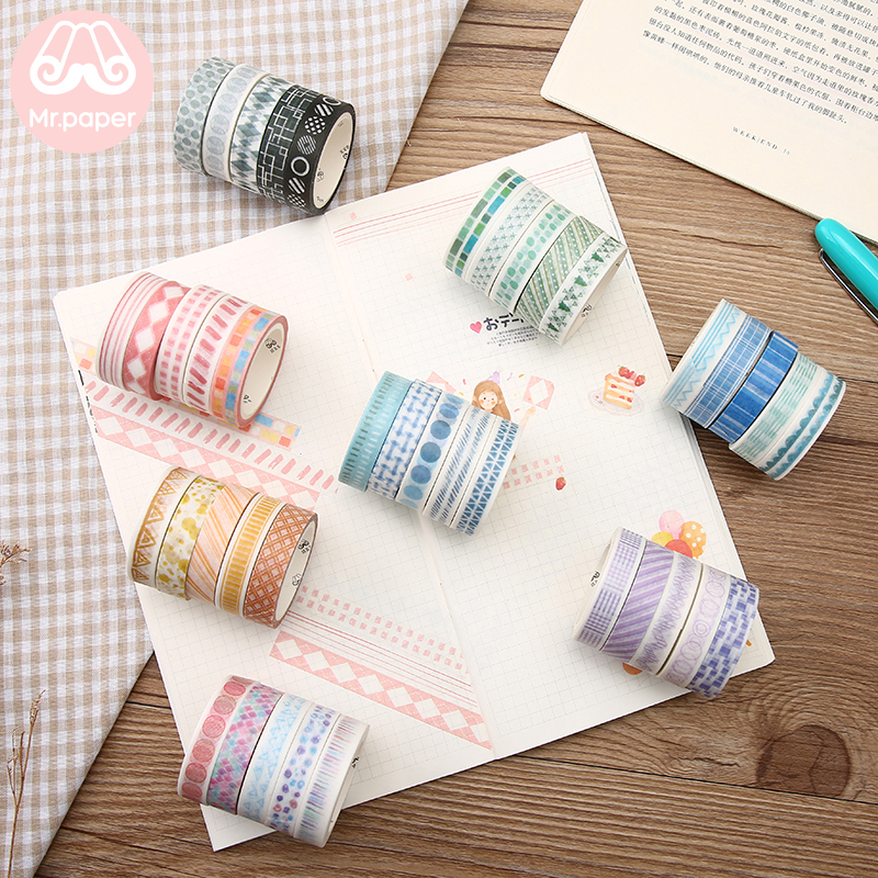 Mr Paper 5pcs/box 8 Designs 10mm*5m Colorful Rainbow Line Scrapbook Cut-off Rule Washi Tape Bullet Journaling Deco Masking Tapes