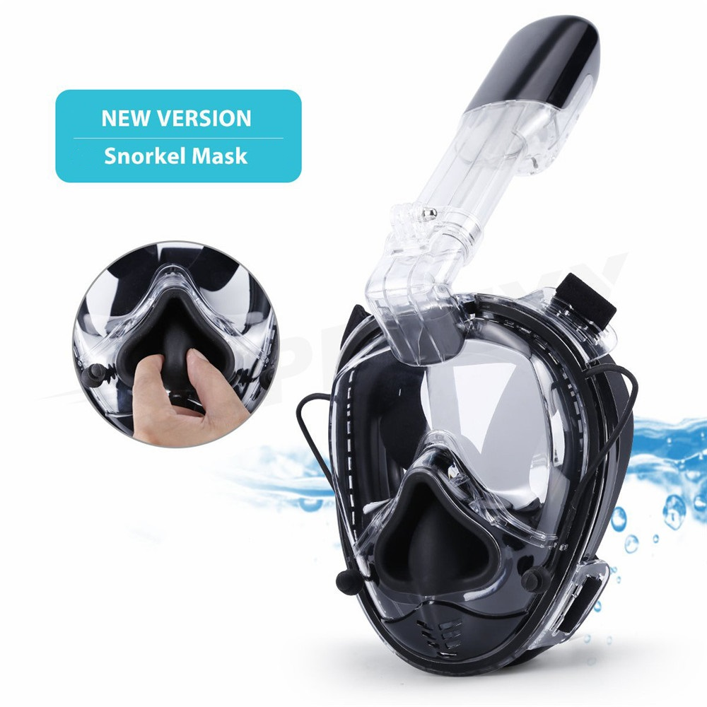2019 New Diving Mask Soft Nose Upgraded Full Face Scuba Mask One-piece Gasbag Underwater Anti-fog Snorkeling Mask For Kid Adults