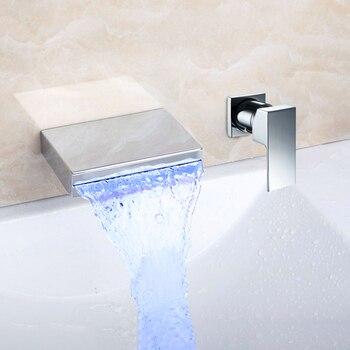 KEMAIDI Matte Black Chrome Bathroom Water Basin Sink Mixer Tap Bathtub Faucet Soild Brass Bathtub Faucet Waterfall LED Change 7