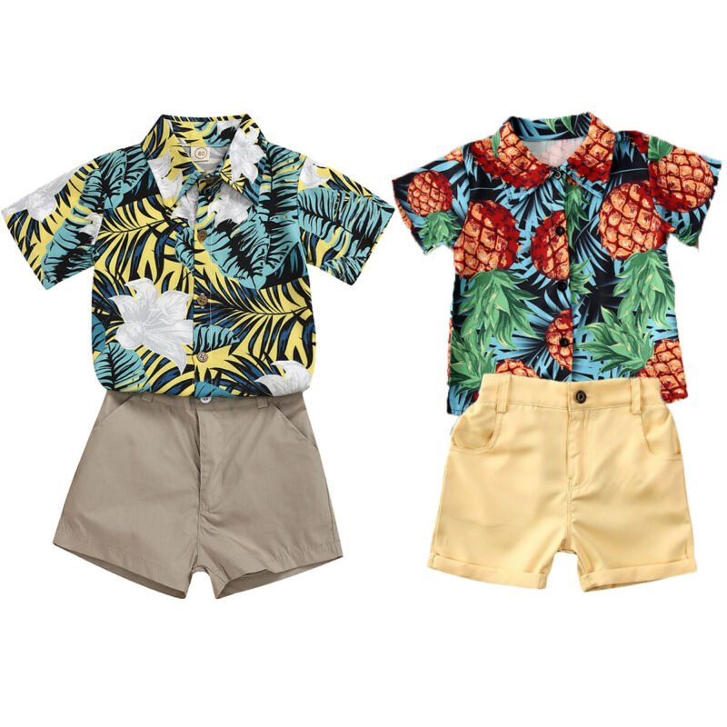 Summer Toddler Kids Baby Boy Tops T-Shirt Shorts Pants Holiday Outfit Clothes Set