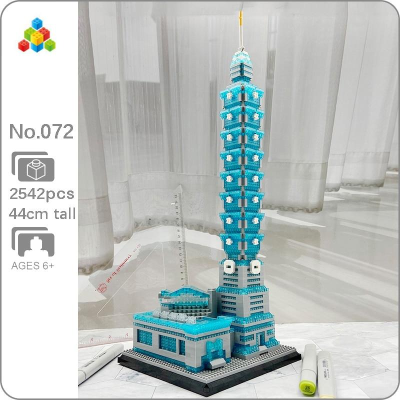 YZ 072 World Architecture Taipei 101 Building Financial Center 3D Model DIY Mini Diamond Blocks Building Toy for Children no Box(China)