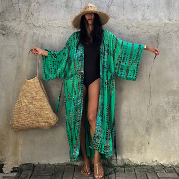 Fitshinling Snake Print Oversize Beach Cover Up Swimwear 2021 Summer Vintage Kimono Bohemian Holiday Long Cardigan Outing New 1