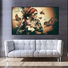 Duvar sanatı tuval yağlıboya rahibe kadın portre kelebek İskandinav posterler ve baskılar Vintage duvar resmi oturma odası dekor için
