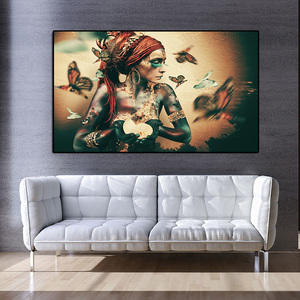 Wall Art Canvas Painting Priestess Women Portrait Butterfly Nordic Posters And Prints Vintage Wall Picture For Living Room Decor