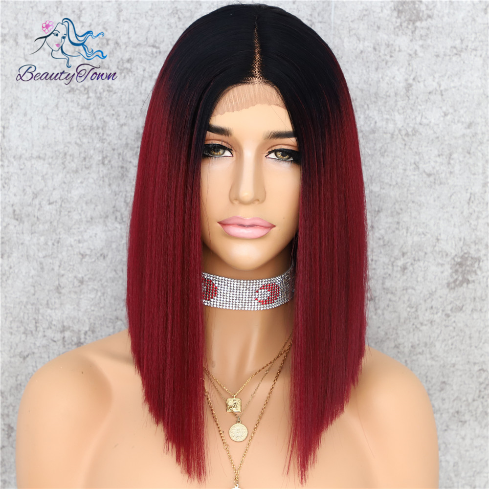 Beautytown Yaki Straight Synthetische Lace Front T Deel Pruik Donkere Ombre Rood 14Inches Dagelijkse Make-Up Party Holiday Gift Haar