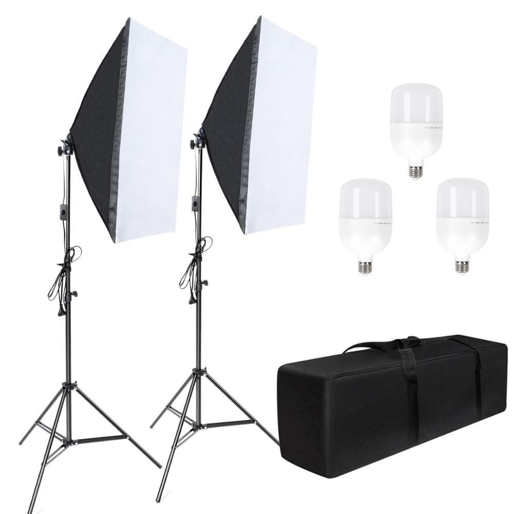 Studio Photo 58W Kit Softbox Kit d'éclairage photographique accessoires Photo appareil Photo 2 support lumineux une Softbox pour photographie appareil Photo