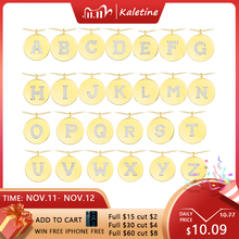 Kaletine 925 スターリングシルバー小文字ネックレス女性/ガール初期ペンダントゴールドカラー薄型チェーン英語手紙ジュエリー