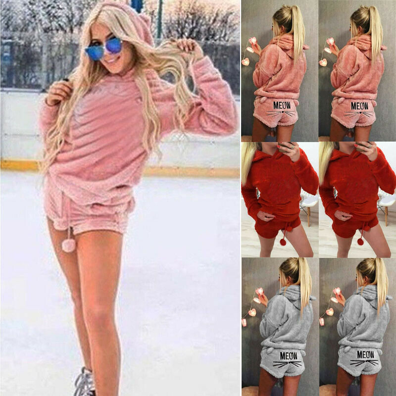 2018 Newly Winter Women Flannel Pajamas Set Bear Hooded Pajamas Winter Warm Coral Fleece Sleepwear