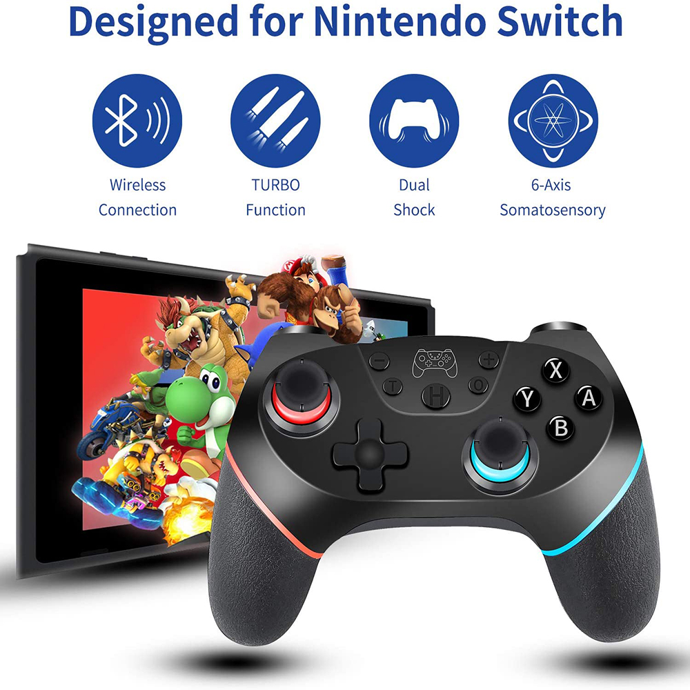 YOBWIN Wireless Switch Game Controller Remote Joystick for Nintendo Switch Bluetooth Gamepad with Nonslip Grip