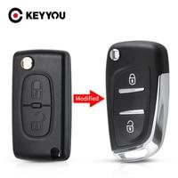 KEYYOU-carcasa para coche, funda con 207 botones y hoja HU83/VA2 para Peugeot 307, 407, 408, 2/3, Citroen C4, C2, carcasa de la llave a distancia del coche, CE0536
