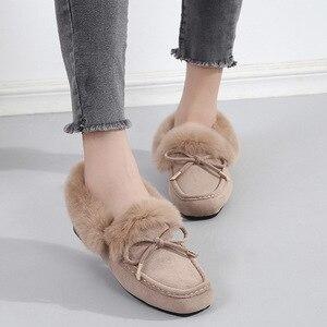 Image 5 - BEYARNE damskie mokasyny zimowy ciepły, puszysty skóra zamszowa Slip On solidne kwadratowe mokasyny damskie shoesSoft baleriny