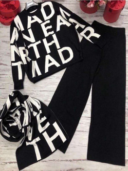 High Street Women Knitted 3 Piece Set Fall Winter New Letter Print Knitted Loose Sweater +Shawl Scarf +Wide-leg Pants Suits 1