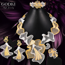 GODKI 4PCS Luxury Hollow Lily Flower African Jewelry Set For Women Wedding earings fashion jewelry 2020 indian Sets