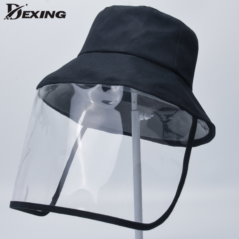 Protective Transparent Bucket Hat Mask Removable Anti  Hat Cap Anti-fog Saliva Face Windproof  Fisherman's Cap