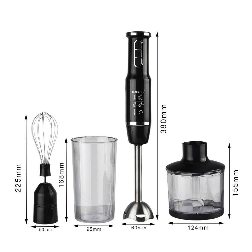 4-in-1 Stainless Steel Immersion Hand Stick Blender Mixer Vegetable Meat Grinder 500ml Chopper Whisk 800ml Smoothie Cup 3
