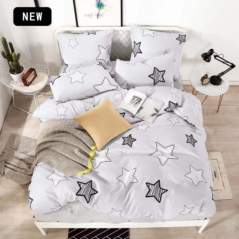 Alanna T-ALL Printed Solid bedding sets  Home Bedding Set 4-7pcs High Quality Lovely Pattern with Star tree flower 2