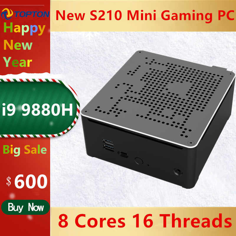Topton 2 LANS Mini Gaming PC Intel Core i9 9880H 8 Núcleos 16 Threads Computador Desktop 2 * DDR4 2 * M.2 NVMe Win10 Pro 4K HTPC HDMI DP