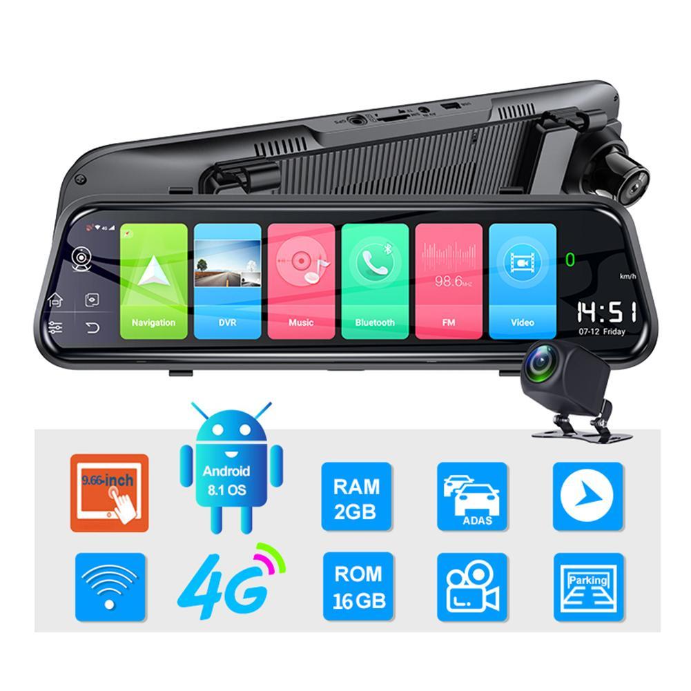 9.66 Cal kamera na deskę rozdzielczą ADAS WIFI podwójne nagrywanie wideo 1080P 4G Android podwójny obiektyw RAM2G ROM16G nawigacja GPS rejestrator jazdy