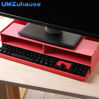 Monitor Desktop Stand Office Storage Boxes Wooden Drawer Wood Table Desk Organizers For Keyboard Computer Home Organization DIY