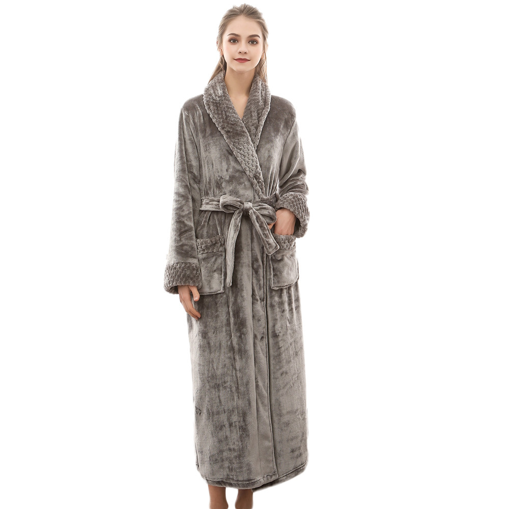 Night Dress Women Bathrobe Flannel Robe Women's Winter Lengthened Coralline Plush Shawl Bathrobe Long Sleeved Robe Coat#G3