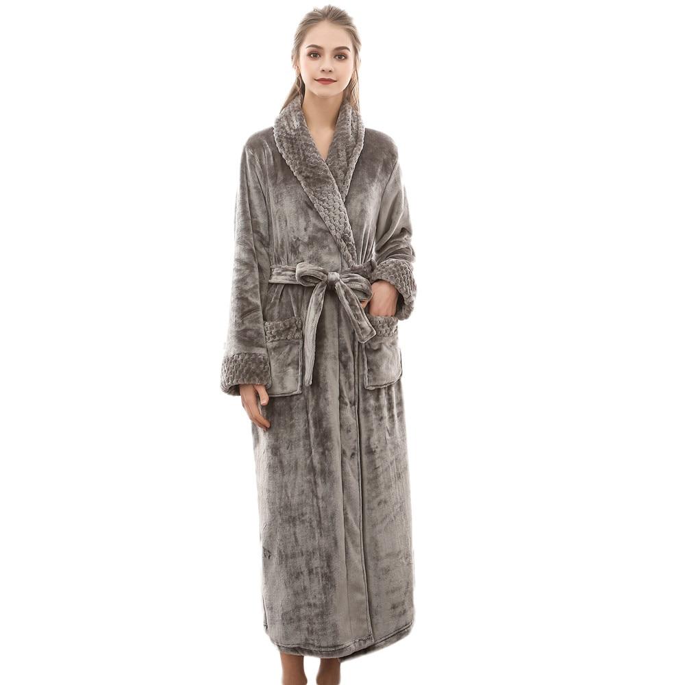 Night Dress Women Bathrobe Flannel Robe Women's Winter Lengthened Coralline Plush Shawl Bathrobe Long Sleeved Robe Coat#G3