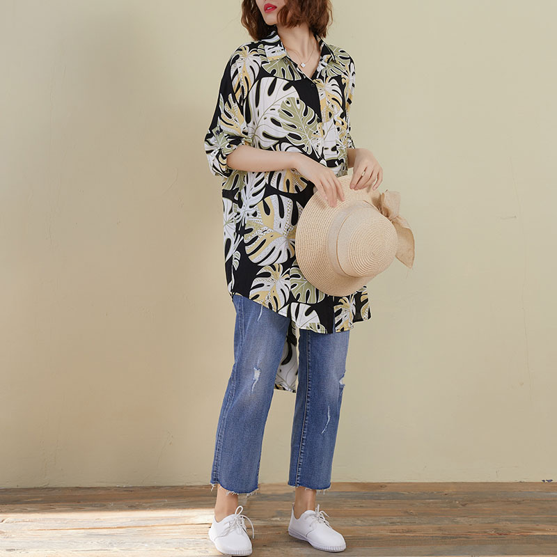 DIMANAF Plus Size Women Linen Blouse Shirts Summer Style Floral Hawaiian Holiday Lady Tunic Oversize Loose Casual Long Sleeve