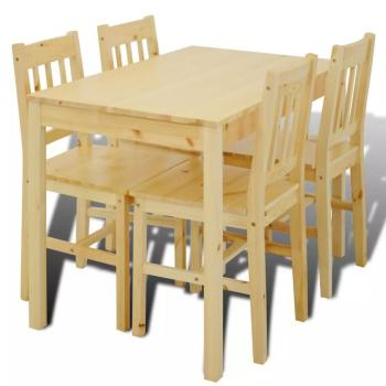【US Warehouse】Wooden Dining Table with 4 Chairs Natural