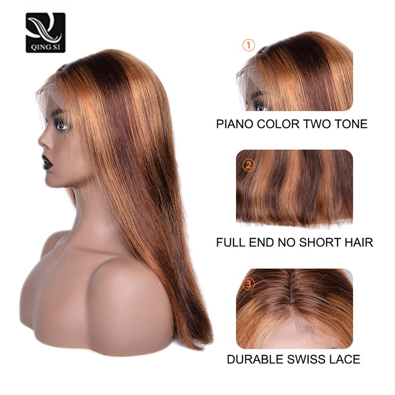 13X4 Frontal Lace  Wigs  Piano 4/27 Color Straight Bob Wig Pre Plucked Ombre Lace Frontal Wigs With Baby HaIr 4