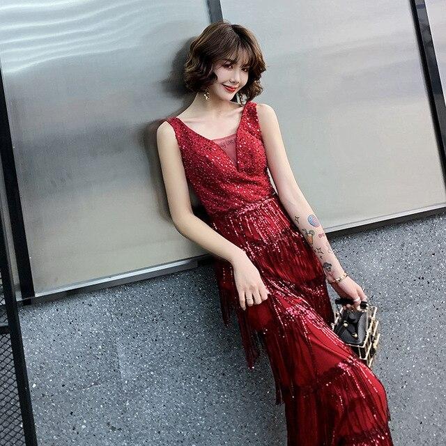 2020 판매 칵테일 드레스 Vestido 칵테일 토스트 드레스 신부 가을 2020 새로운 감사 연회 호스트 테일 쇼 얇은 저녁