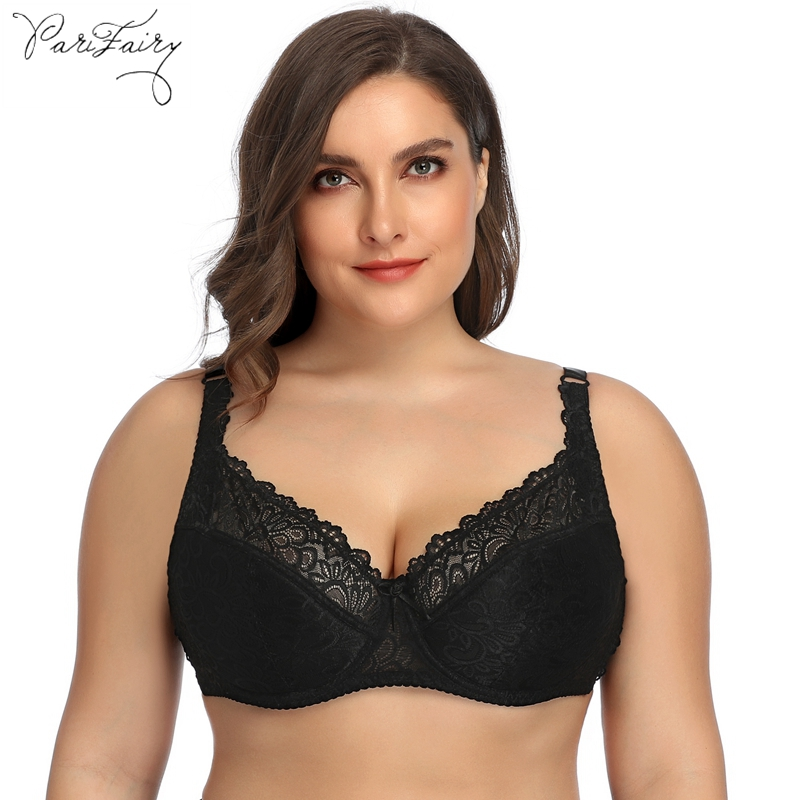 PairFairy Womens Lace Bra Large Cup Plus Size Underwear Perspective Bralette Sexy Lingerie Underwire Brassiere DD E DDD F Cup