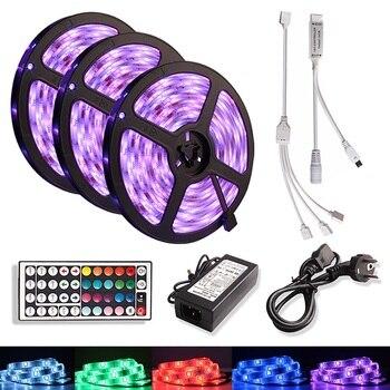 5M 10M 15M LED Strip Light RGB Waterproof SMD 5050 DC 12V Flexible Ribbon Tira Led Diode Tape +IR Remote Contoller +Adapter Plug