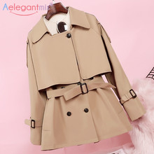 Aelegantmis New Fashion Women Long Trench Coat Autumn Winter Vintage Belt Double Breasted Khaki Trench Outwear Slim Office Coat cheap Full Broadcloth Casual COTTON Polyester spandex Pockets Sashes Solid 9W2702 Turn-down Collar