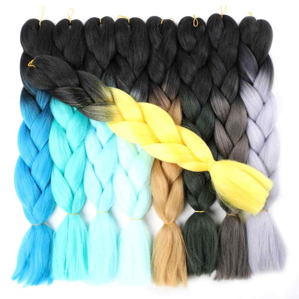 "Mtmei Hair Ombre Braiding Hair Extensions For Cosplay Party Daily Grey Purple Pink Jumbo Box Braids Crochet Hair 24"" For Women"