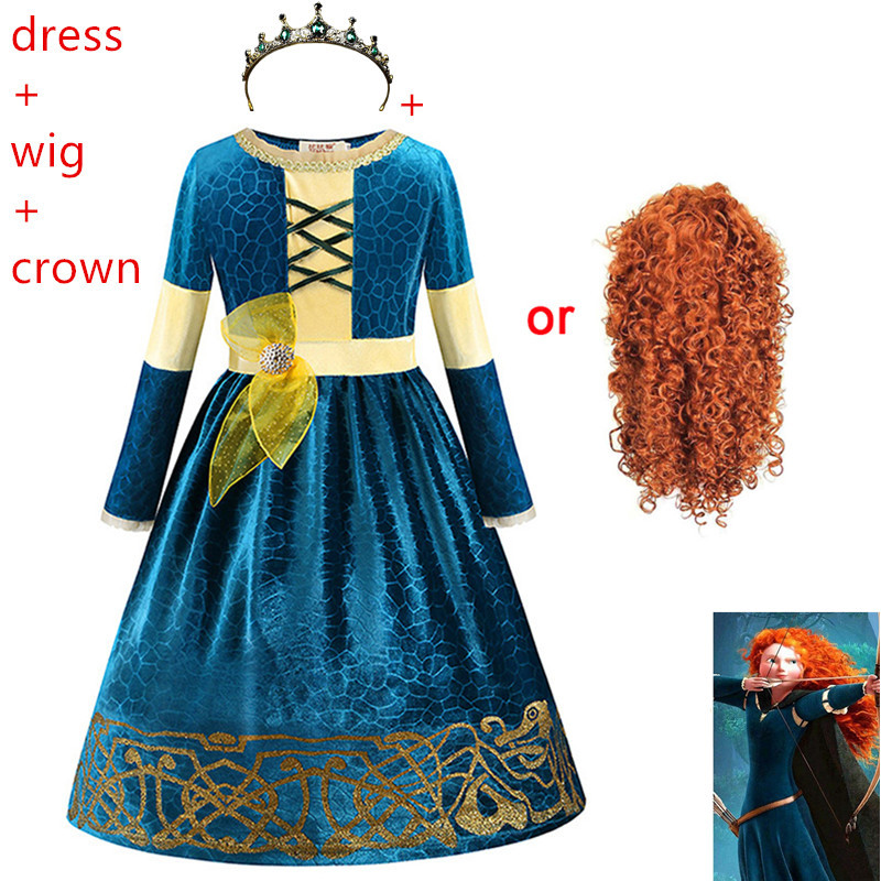 Halloween costume for kids Movie Brave Princess Merida anime Cosplay costumes Carnival Christmas Party clothing COS dress+wig