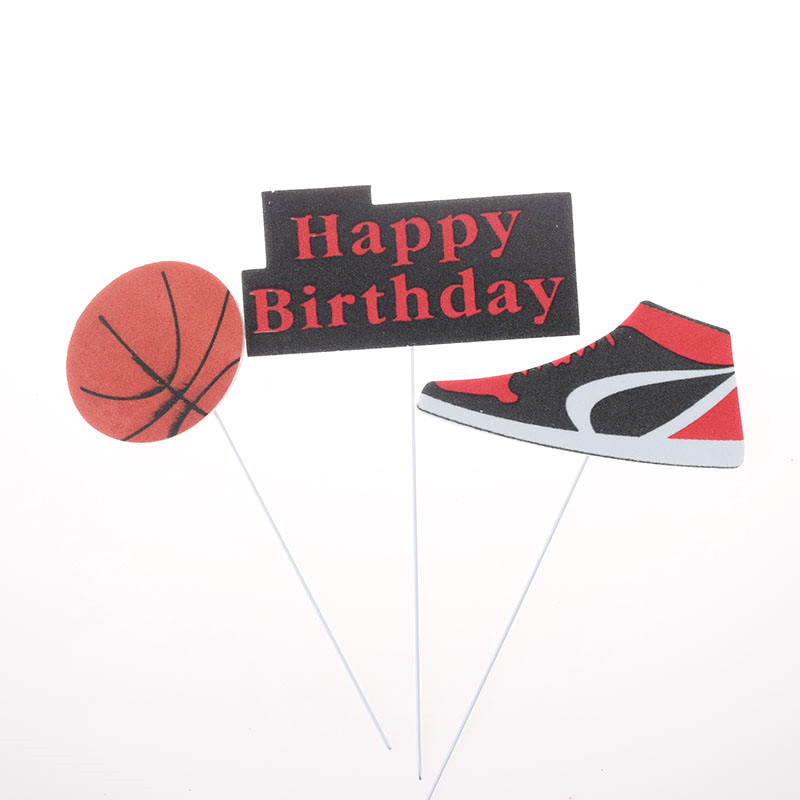 3pcs/set Cake Topper Basketball Sports Shoes DIY Cake Cupcake Toppers Boys Men Happy Birthday Party Wedding Dessert Decor Flags-3