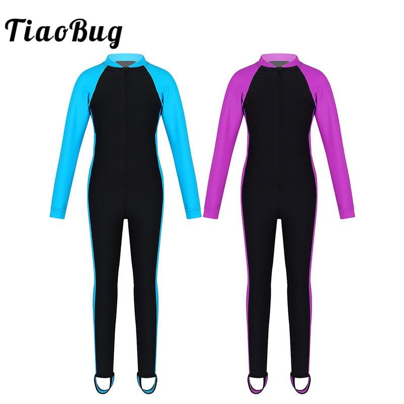 TiaoBug Kids Unisex One-piece Long Sleeves Zipper Up Rash Guard Sunsuit Swimsuit Beach Swimwear Bathing Suit Boys Girls Wetsuit