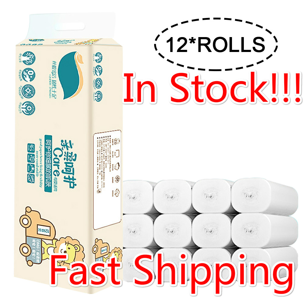 12 Rolls Home Bath Paper Bath Toilet Roll Paper Toilet Paper White Toilet Paper Toilet Roll Tissue Strong Water Absorption