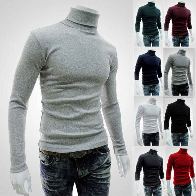 New 2019 Autumn Turtleneck Sweater Plain Black Men's Pullover Casual Jersey Mens Knitted Brand Korean Style Clothes