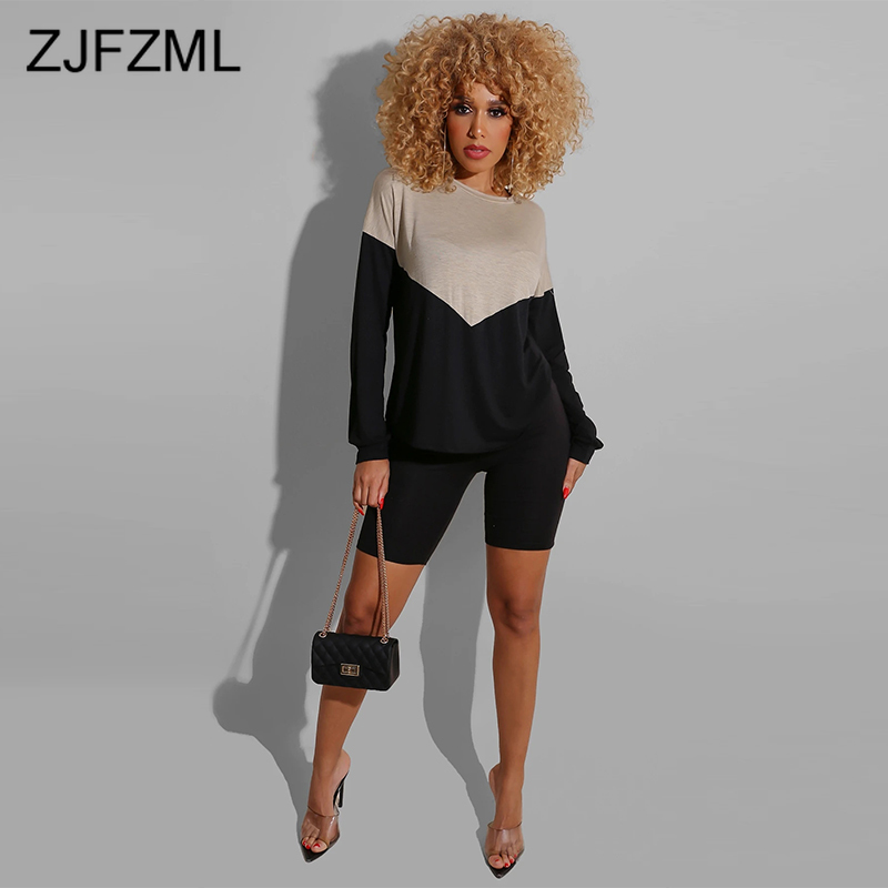 Color Blocking Causal Two Piece Set Women Clothes Round Neck Long Sleeve Loose T Shirt And Bodycon Shorts Plus Size 2 Pcs Outfit