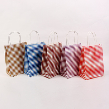 6pcs Paper Wrapping Bag Wedding Party Favor Candy Dragee Gift Bags Food Packaging Treat Craft Paper Popcorn Bags with Handle image