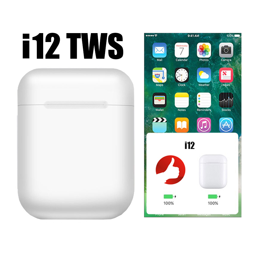 Original I12 Tws Bluetooth 5.0 Wireless Earphones Touch Control Stereo Pop Up Earbuds I12tws Pk W1 Chip 1:1 Replica Tws I10 I7s