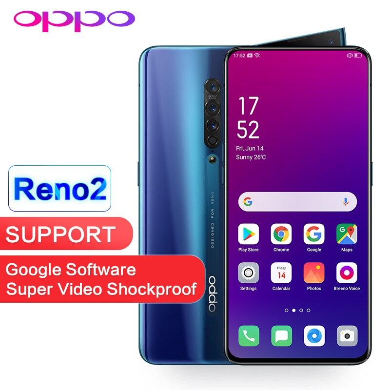 OPPO Reno 2 8GB 128GB NFC OTA Atualização Global de Apoio ROM Jogo Goolge 48MP 13MP 8MP 2MP 4 câmeras de 2400x1080P Snapdragon 730 Telefone