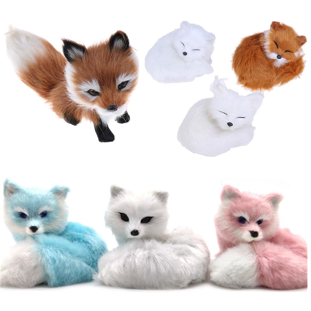 Hot Sale Small Simulation Fox Toy Mini Squatting Fox Model Home Decoration Wedding Birthday Gift Stuffed Plush Toys