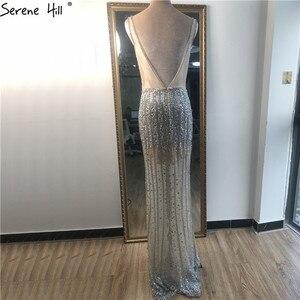 Image 3 - Vestidos plateados de lujo con escote en V profundo para baile de graduación, vestidos de fiesta de estilo sirena Serene Hill BLA70228 con espalda descubierta y diamantes de lentejuelas 2020