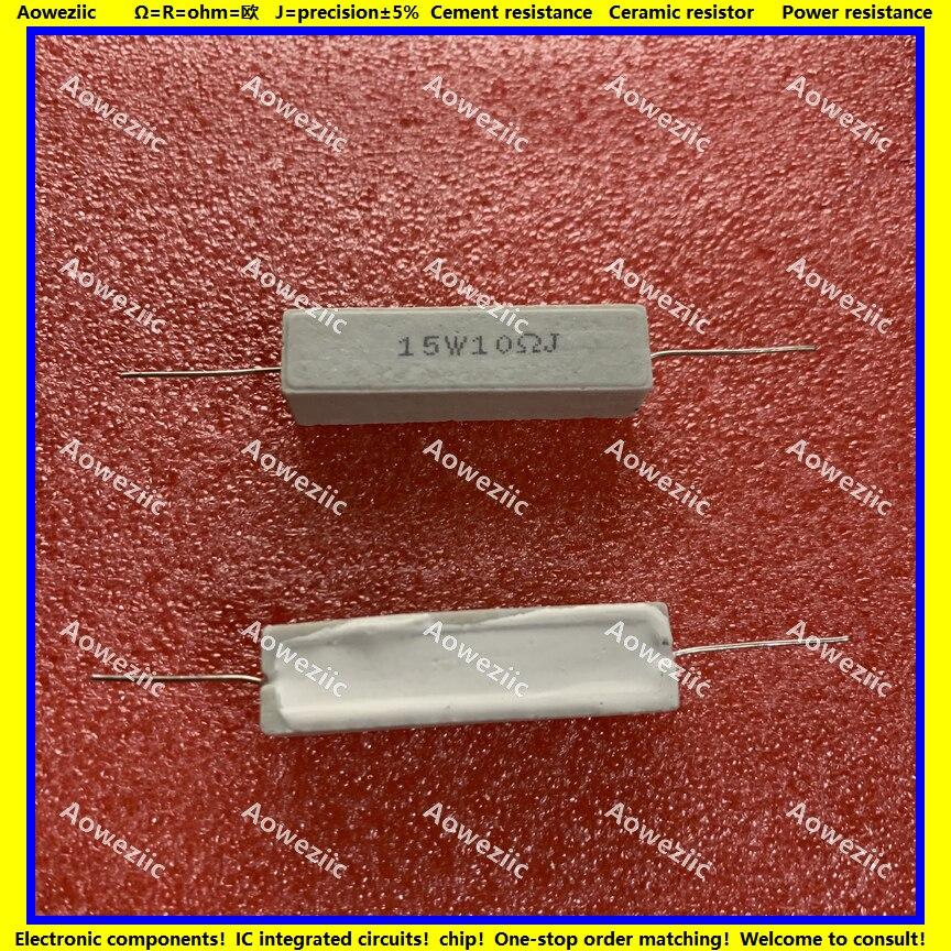 10Pcs 15W10RJ 15W10ΩJ RX27 Horizontal Cement Resistor 15W 10 Ohm 10R 15W10ohm Ceramic Resistance Precision 5% Power Resistance