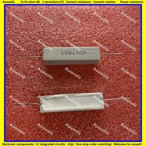 Image 1 - 10Pcs 15W10RJ 15W10ΩJ RX27 Horizontale zement widerstand 15W 10 ohm 10R 15W10ohm Keramik Widerstand präzision 5% Power widerstand